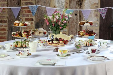 Vintage Gallery | Vintage tea set with cakes, sandwiches & sweet things