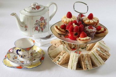 Vintage Gallery | Vintage tea set with cakes and sandwiches