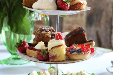 Vintage Gallery | Vintage cake stand with cakes and sandwiches