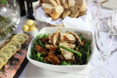 Weddings & Parties Gallery | Sliced chicken breast with green beans, olives, sun dried tomatoes & salsa verde
